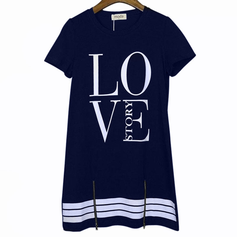 HTB12VbZRpYqK1RjSZLeq6zXppXai Laamei Summer O-Neck Long T-Shirt Dress Women Letter Print Dresses Short Sleeve Casual Loose Streetwear Sundress Plus Size S-5XL