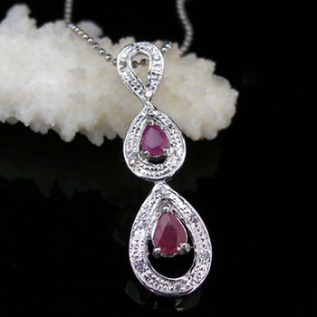 2017 Qi Xuan_Fashion Jewelry_Elegant Red Stone Waterdrop Necklaces_S925 Solid Silver Party Necklace_Manufacturer Directly Sale