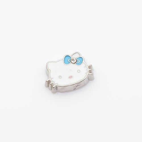 Azul Olá Kitty, flutuante charme medalhões em forma de charme flutuante, FC0072, 10 PÇS/LOTE