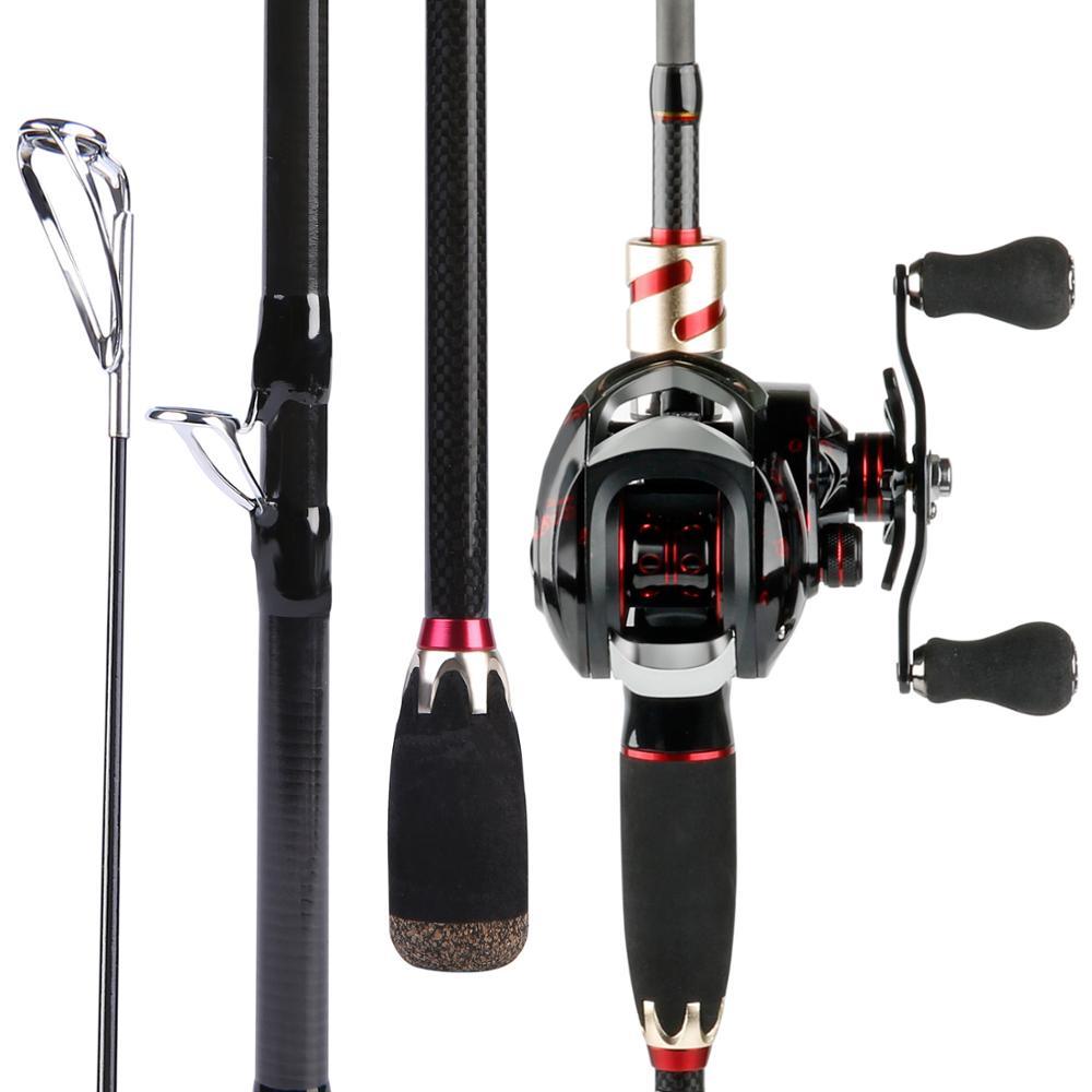 Sougayilang Fishing Rod Medium Power Portable Travel Fishing Pole with Carbon Fiber Baitcasting Fishing Reel set
