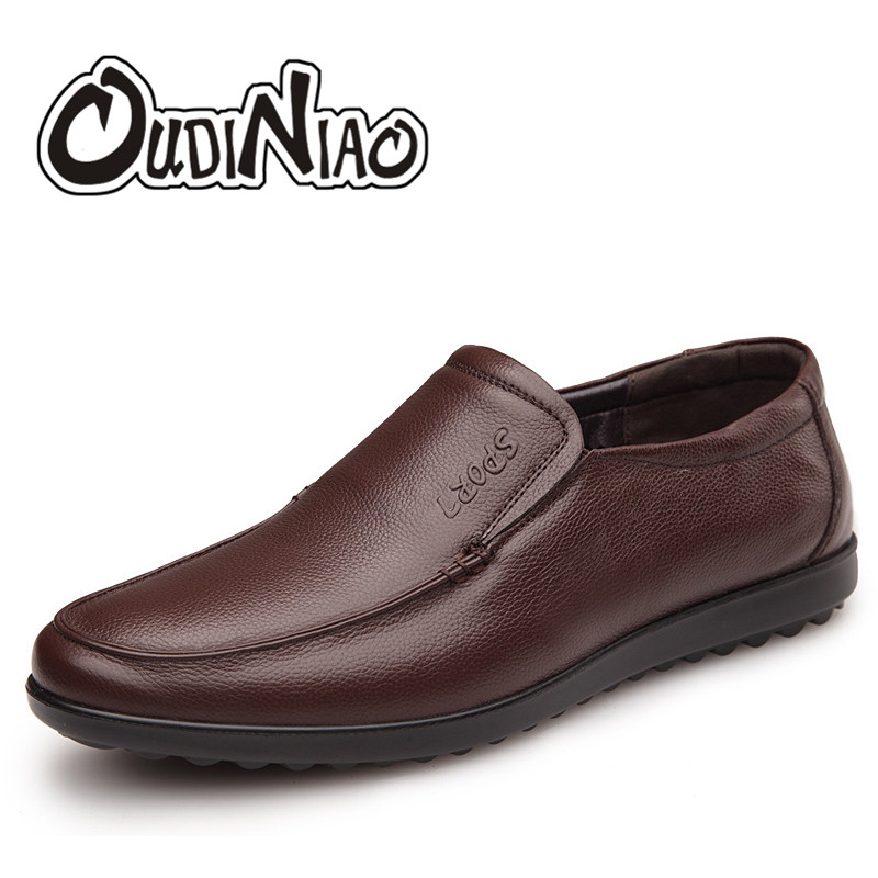 OUDINIAO Mens Shoes Casual Spring Round Toe Slip On Shoes Men Loafers Italian Genuine Leather Men Shoes Luxury 2018 new 2017 men s genuine leather casual shoes korean fashion style breathable male shoes men spring autumn slip on low top loafers