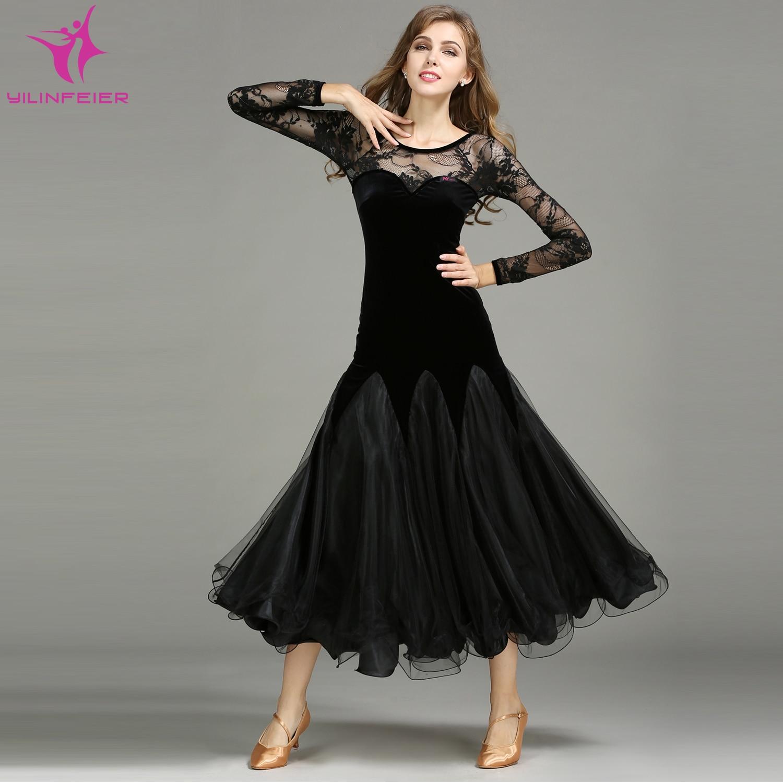 YILINFEIER MY751 2018 NEW Modern Dance Costume Women Lady Adult Waltzing Tango Dance Dress Ballroom Costume Evening Party Dress