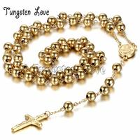 65cm New Men Women S Stainless Steel Pendant Necklace Gold Jesus Christ Crucifix Cross Rosary Vintage