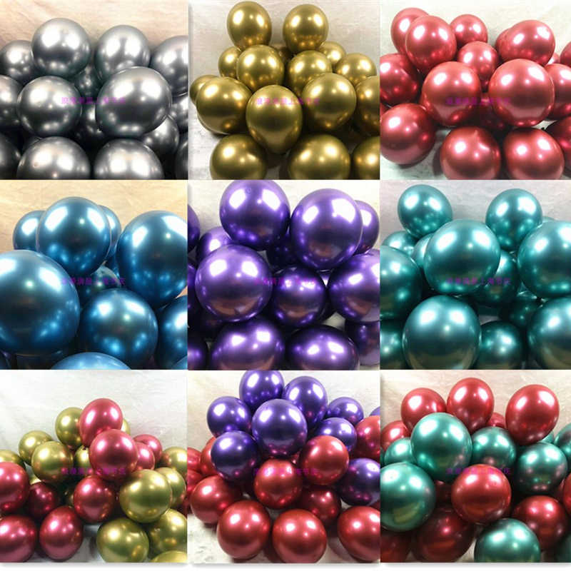 "10pcs New Glossy Metal Pearl Latex Balloons 12"" Thick Chrome Metallic Colors Inflatable Air Balloons Metalicos Party Decoration"