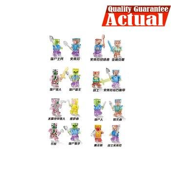 LELE 8pcslot My World Minecraft Transparent Man Building Blocks Bricks anime action figures Toys For Children gifts brinquedos