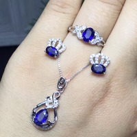 Shop promotion, 925 silver, natural sapphire suit, ring necklace, 0.5 carat per piece, simple and beautiful