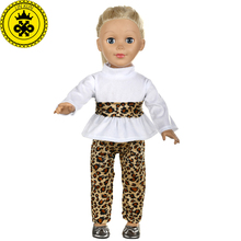 цена American Girl Doll Clothes Leopard Floral Shirt Trousers Suit Clothes for 18 inch Dolls Accessories T536 онлайн в 2017 году