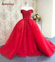 Amanda Novias สายรัด Lace Up กลับชุดแต่งงานสีแดงที่ถอดออกได้รถไฟ 2019