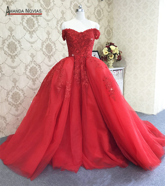 Amanda Novias Straps Lace Up Back Red Wedding Dress With Detachable Train 2019