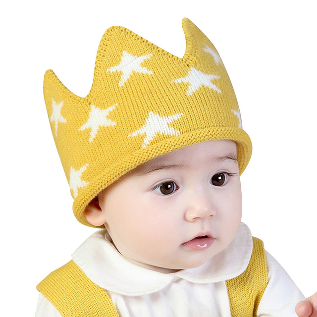 Knit Crown Baby Hat First Birthday Photography Props Star Baby Boys Girls Hat  Crochet Infant Beanie Autumn Baby Girls Clothing dd00570d5dbe