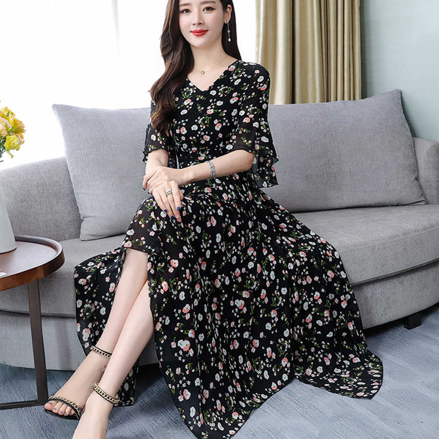 Летнее шифоновое богемное платье миди с цветочным принтом 2019 винтажное 3XL плюс размер черное пляжное платье с принтом женское обтягивающее элегантное на выход Vestidos