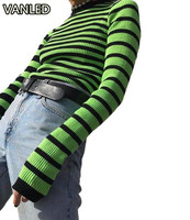 Women S Brief Stripe Pullover Knitting Sweater Casual Slim O Neck Female Sweaters
