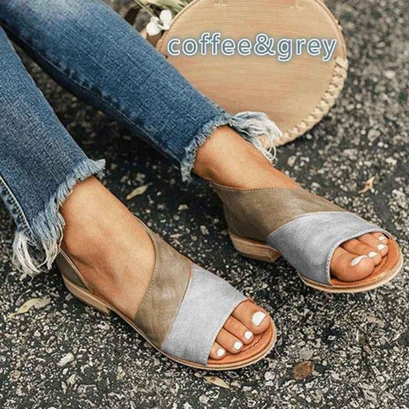 SHUJIN Giày Sandal Nữ Cho Mùa Hè Nhân Quả Giày Người Phụ Nữ Peep Toe Giày Gót Thấp Sandalias Mujer 2019 Plus Size 35-43 giày mùa hè