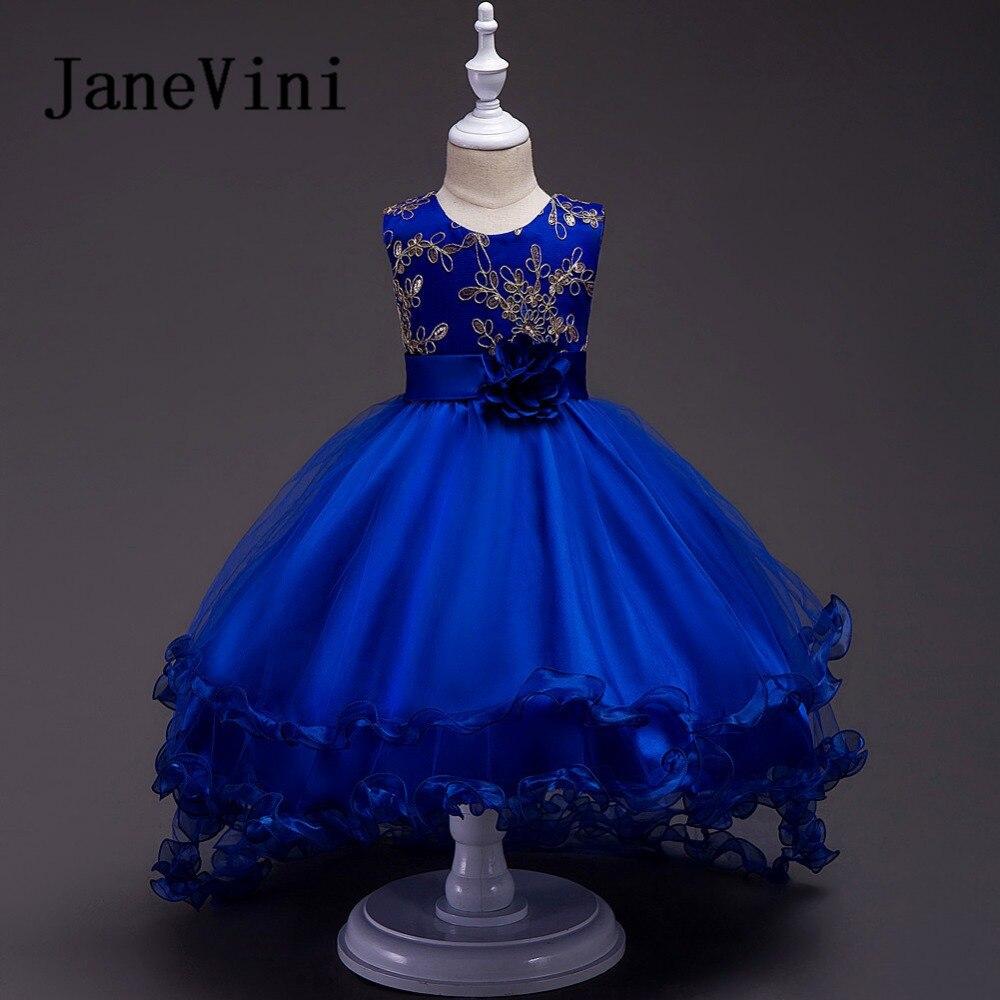 JaneVini Royal Blue Hi-Lo Kids Flower Girls Dresses Princess Ball Gown Gold Appliques Floor Length Sukienka Komunia Dziewczynka