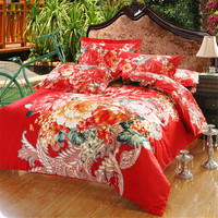 Fashion Vivid Flowers Print Bedding Set 3D Bedclothes Bed Linens Bed Sheet Set Queen Size 4 pieces Bed cover Set Free Shipping