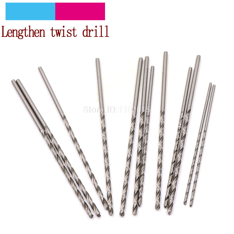5Pcs White Steel Twist Drill 1.0~3.0mm Lengthen Straight Shank Mini High Speed Hss Rotary Tools Bit For Diameter Extra Long Bits