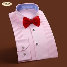 Свадебные нарядные рубашки с длинным рукавом французский на пуговицах роскошные мужские рубашки брендовая присутствовать вечерние однотонные Цвет Slim Fit рубашка-смокинг