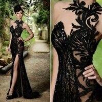 สีดำชุดแต่งงานแฟชั่นต้นขาสูงร่องชุดเซ็กซี่ชุดA Ppliqueคริสตัลลูกปัดลูกไม้ชุด