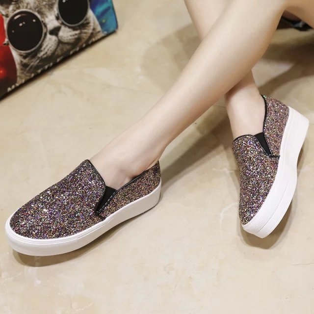 550c221c06d7 Fashion Women Loafers 2015 Solid Color Casual Loafer Shoes Women Glitter  Flats Lazy Slip-On Flats Free Shipping
