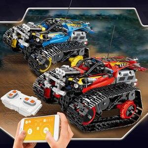 Image 4 - 391 قطعة الخالق APP التحكم عن بعد سيارة الطوب تكنيك RC تتبع المتسابق نموذج ألعاب مكعبات البناء للأطفال هدية