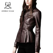 2017 Spring women leather jacket coat Black sheepskin genuine leather motorcycle cloth female sexy OL Slim Button Pleated Jacket