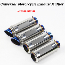 51mm 60mm Motorcycle Exhaust Muffler Modified Escape Moto Tail Pipe For Scooter Dirt Bike For R6 YZF-R6 CBF190R Ninja 650 ER6N
