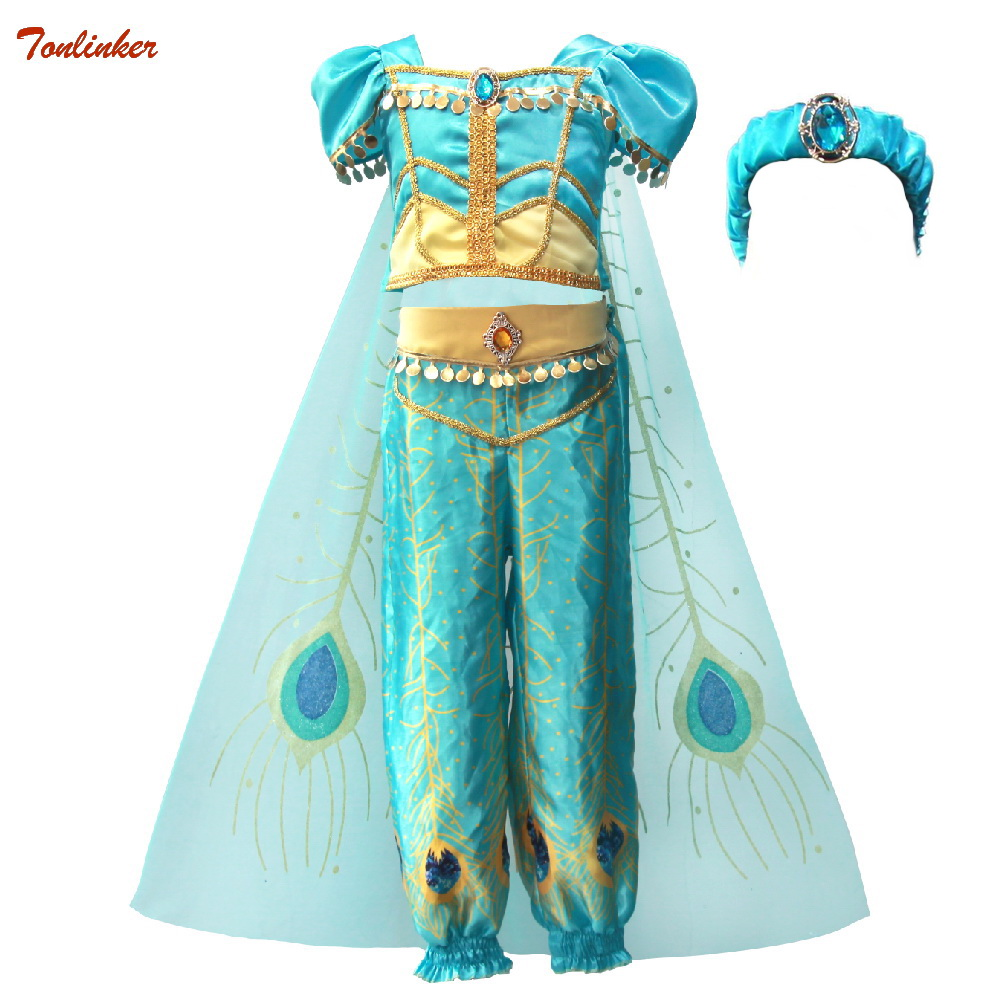 2019 Girls Princess Jasmine Cosutmes Cape Kids Belly Dance Dress Children Indian Costume Halloween Christmas Party Cosplay 2- 10