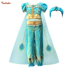 2019 Girls Princess Jasmine Cosutmes Cape Kids Belly Dance Dress Children Indian Costume Halloween Christmas Party Cosplay 2- 10 indian princess belly dance tulle feather party mask