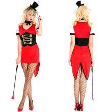 Mago de halloween trajes de cosplay sexy payaso de circo rojo lolita domadores swallow tail dress ropa de rendimiento etapa