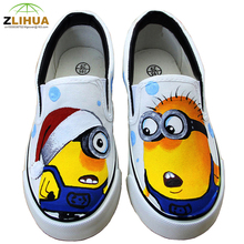 JUP Kids Boys Girls baby Totoro Game Zombies Monster Simpson Despicable Me Minion Sunflower High Top Hand Painted Canvas Shoes