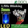 Предварительно Проводная Светодиодная лампа (CE & Rosh)12 В/24 В, 1,5 Гц, мигает синим цветом, 5 мм, DIP СВЕТОДИОДНЫЙ ОД, кабель 200 мм, светодиодная лампа...