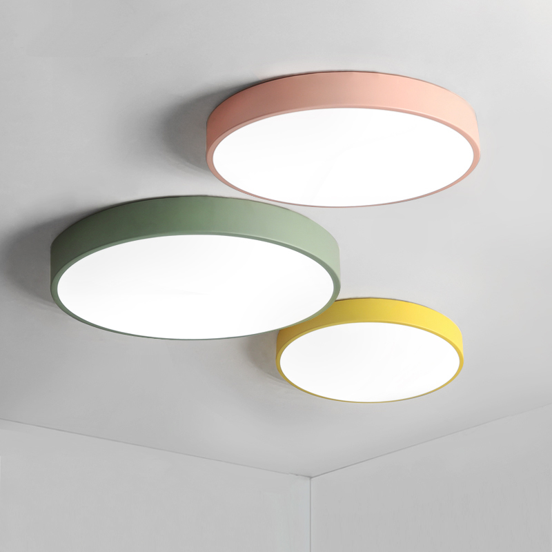 Macaron ultra-thin Modern LED ceiling lights Pink/Yellow/Green Body ceiling Lamp For living room bedroom lamparas de techo 2018 new macaron color led ceiling lights round 5cm ultra thin ceiling lamp for bed children s room led lamp lamparas de tech