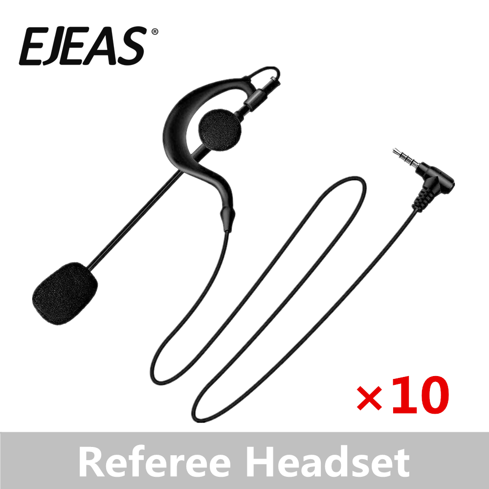 10 Packs EJEAS Microphone Ear Hanging Headphones Football Match Referee Microphone Headphones Motorcycle Intercom Headsets