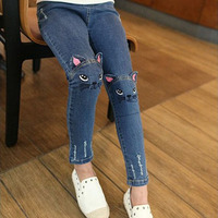 Girls Jeans Pants Trousers Cotton Cartoon Cute Cat Print Skinny Elastic Kids Pants Baby Girls Jeans