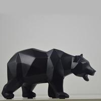 Modern Resin Black Bear Statues Sculpture Decoration Geometric Crafts Gift TV Cabinet Office Statue For Decoration Garden Statue