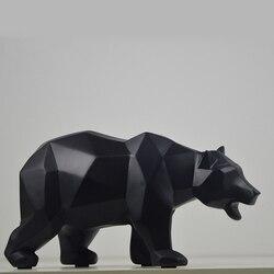 Resina moderna urso preto estátuas escultura decoração geométrica artesanato presente gabinete tv estátua do escritório para decoração jardim estátua