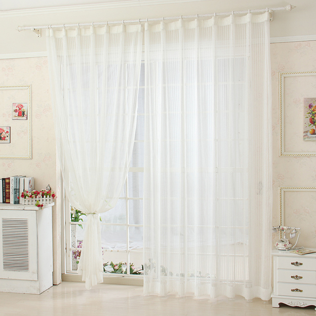 finshed product striped white allmatch screens modern tulle curtains white sheer curtains for living