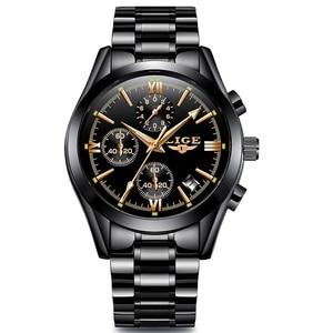 Image 5 - LIGE Mens Watches Top Brand Luxury Fashion Business Quartz Watch Men Sports Full Steel Waterproof Black Clock Relogio Masculino