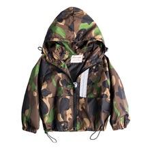 Модные камуфляжные куртки одежда для маленьких мальчиков новая осенняя Повседневная куртка пальто на молнии с капюшоном детская одежда верхняя одежда для малышей, пальто