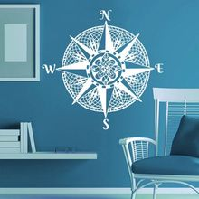 Nautical Compass Rose Wall Sticker Ocean Sea Style Living Room Home Decor Mandala Decals Navigate Ship Mural AY1368