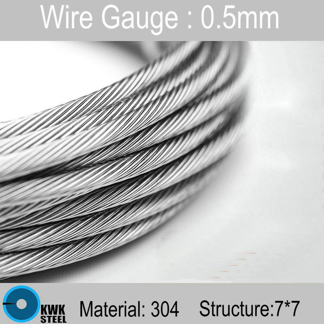 0.5mm Stainless Steel Wire Rope Structure 7*7 Stainless Steel Cable ...