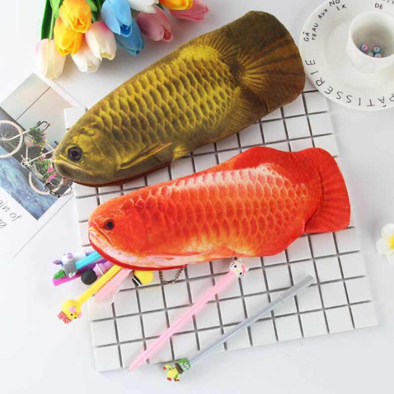 Ołówek Case Fish 3D symulacja złota Arowana pluszowy ołówek torba duża pojemność zamek błyskawiczny torba na materiały piśmienne kreatywny szkolne materiały papiernicze