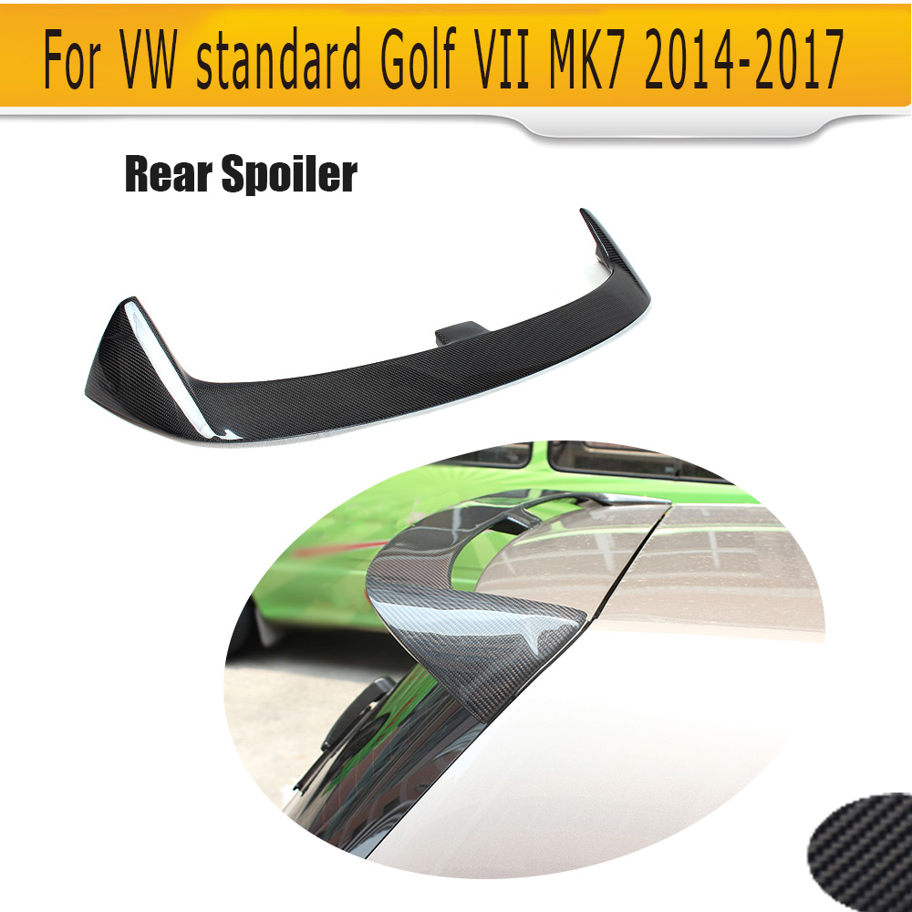 Carbon Fiber Auto Car Rear Spoiler Trunk Lip Wings For Volkswagen VW Golf 7 VII MK7 standard Only 2014-2017 Non GTI carbon fiber car rear roof spoiler racing tail trunk lip wing for volkswagen vw golf 7 vii mk7 standard 14 17 non gti r