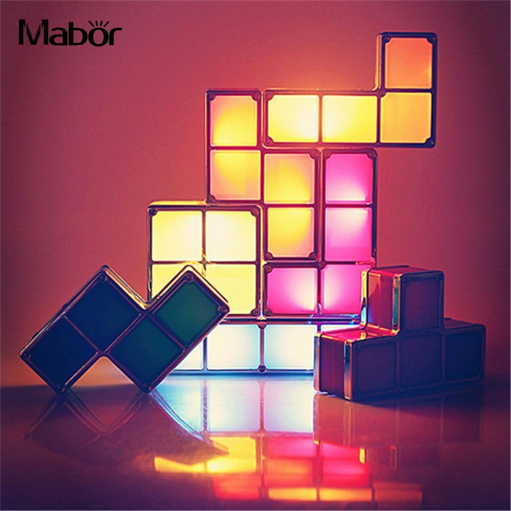 Luz de noche DIY lámpara de noche creativa Tetris bloque de moda lámpara de atmósfera Constructible luz LED enchufe de EE. UU.