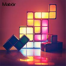 Night Light DIY Lamp Creative Tetris Block Fashion Constructible Atmosphere LED US Plug