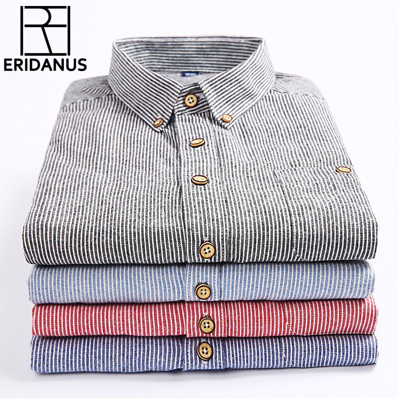 2017 Summer Men's Printed Long-sleeved Shirt Male Breathable Cotton Stripe Fashion Casual Collocation Trend Business Shirt M341