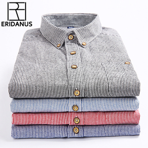 Image 1 - 2017 Summer Mens Printed Long sleeved Shirt Male Breathable Cotton Stripe Fashion Casual Collocation Trend Business Shirt M341