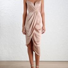 AEL Новинка женское модное однотонное платье на бретельках платье на бретелях с v-образным вырезом элегантное асимметричное вечернее платье