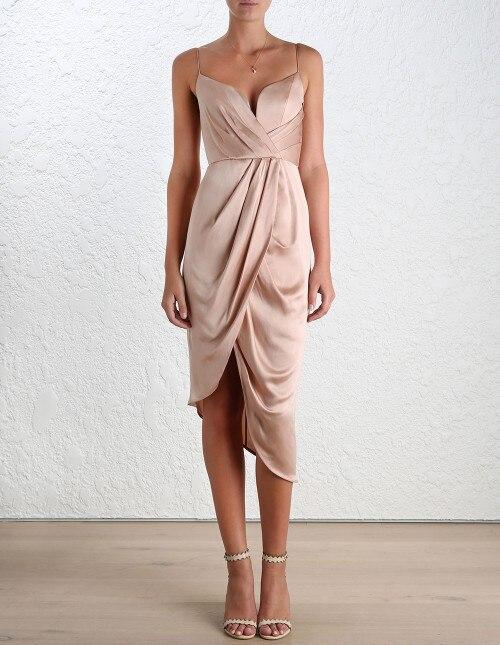 AEL 2019 nouvelles femmes mode solide robe à bretelles Spaghetti robe à bretelles v-cou soirée soirée élégante Robes asymétriques robe
