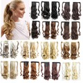 "Curly Ponytail Hairpieces Tress Hair Extension Pony Tail Long False Hair Extension Ponytail 22""Ribbon Curly Wavy Messy PonyTail"